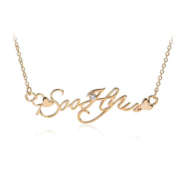 GNX0349 Auténtica Plata de Ley 925 Collar de Oro Rosa Plateado Soohynn Nombre Collar de la Joyería de Moda