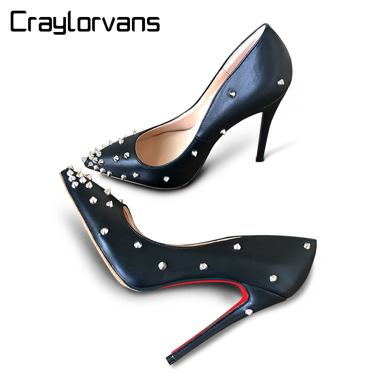 Craylorvans Top Quality Women Pumps Patent Leather Women High Heel 2017 Rivet Shoes Pointed Toe Women Shoes craylorvans top quality 8 10 12cm women pumps new fashion leopard color pointed toe high heel wedding shoes ultra thin high heel