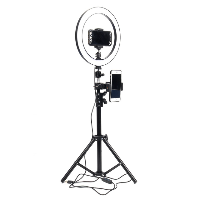 10inch 26cm USB Interface Dimmable LED Selfie Ring Light Camera Phone Photography Video Makeup Lamp With Tripod Phone Clip 5