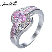 JUNXIN Female Pink Oval Ring Fashion White & Black Gold Filled Jewelry Vintage Wedding Rings For Women Birthday Stone Gifts(China)