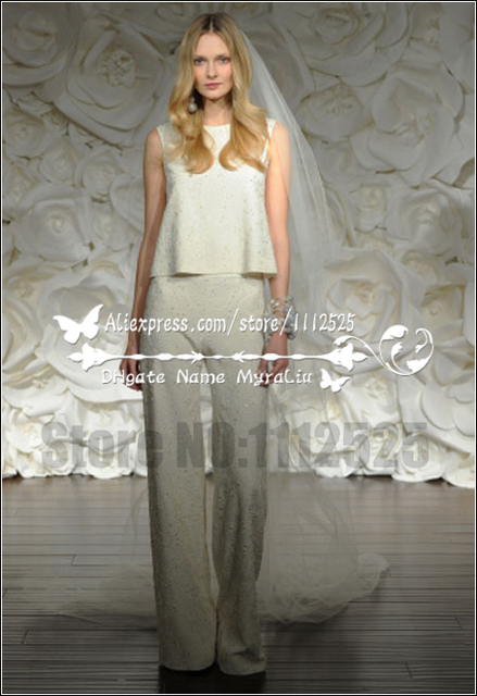 Awp 1008 New Style Modern Bridal White Lace Jumpsuit Wedding Pant