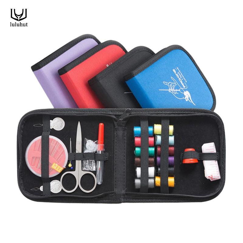 Luluhut portátil mini viaje kits de costura bolsa con hilos de aguja de color tijera pin conjunto de costura herramientas de costura al aire libre