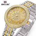 2016 Belbi Fashion Quartz Women Watch Ladies Steel Wrist Watches Rhinestone Casual Quartz-Watch Wristwatch Roman Style Relojes