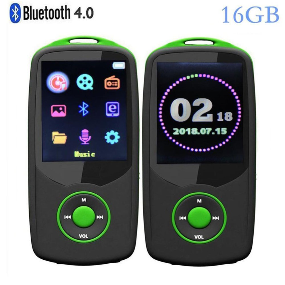 Newest Version Bluetooth4.0 MP3 Music Player 16GB with Color Menu Screen, Portable Lossless Sound Quality Player with FM Radio