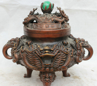 SCY JP S62 12 Chinese palace Bronze 3 Foot lion Head Dragon Handle Incense Burner Censer