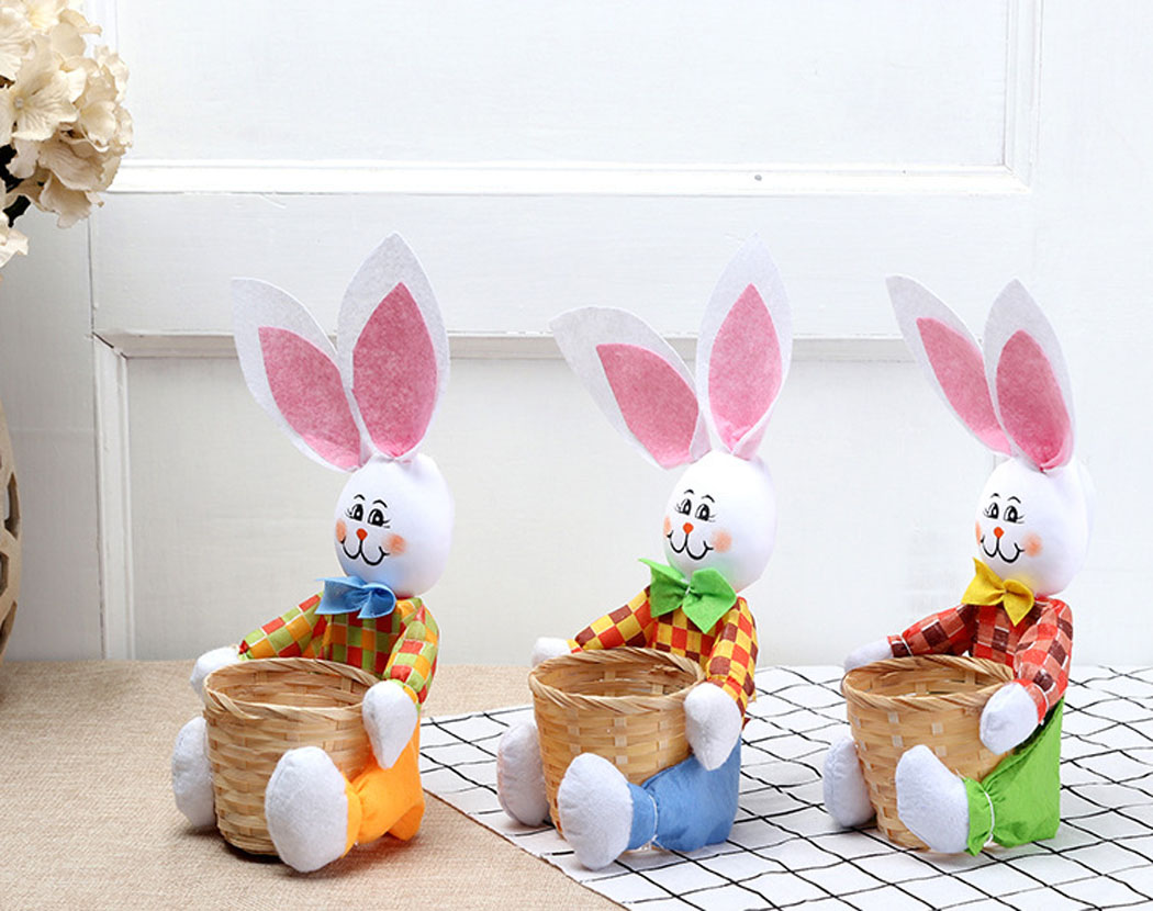 Easter Basket Creative Cute Bunny with Basket Easter Bunny Basket Easter Storage Basket Kids Children Toys Gifts