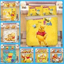 Cartoon Cute Bear 3D Bedding Set Duvet Covers Pillowcases Children Room Decor Bedclothes Comforter Sets Bed Linen