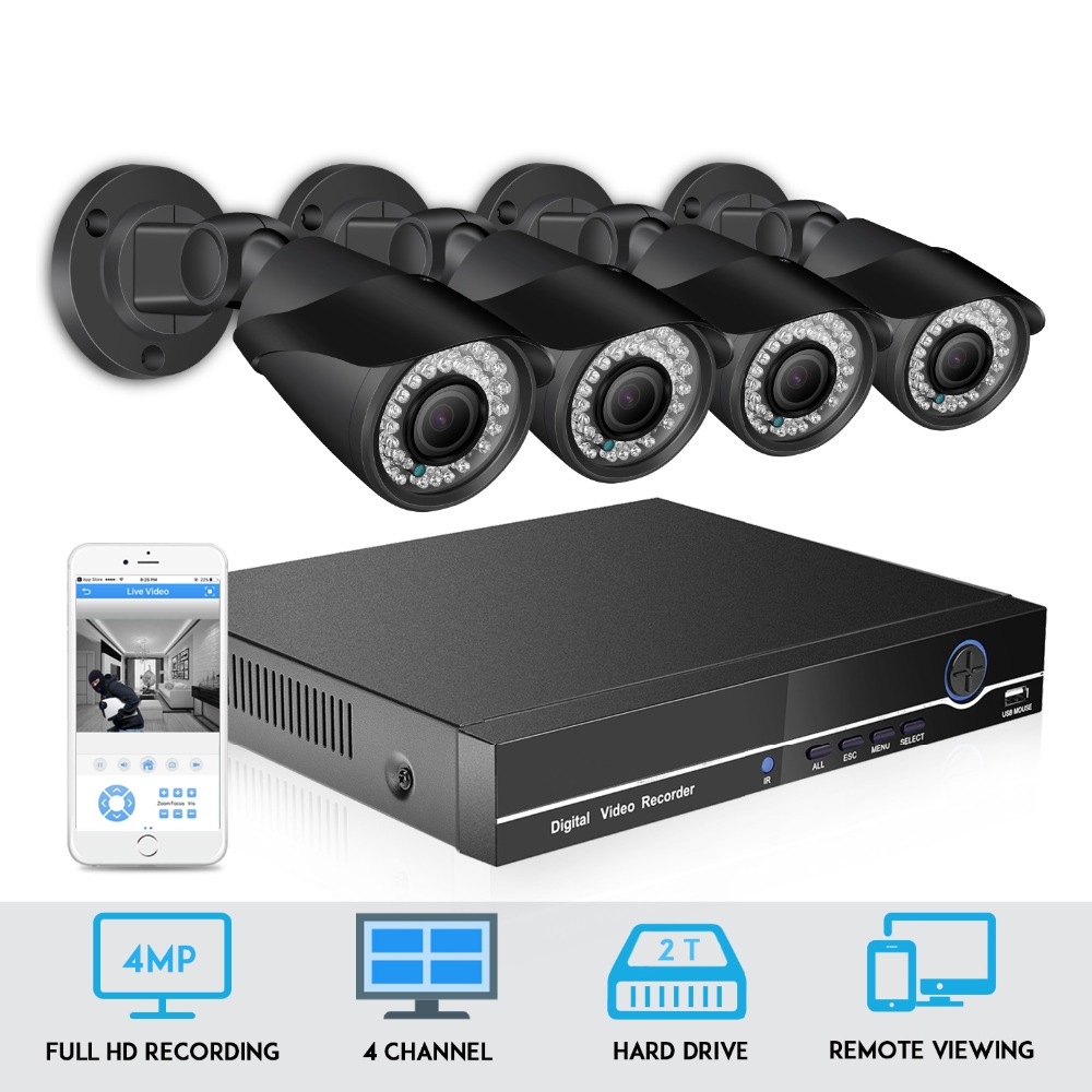 BESDER 48V POE HD 4CH 4.0MP 4X Zoom Home security camera System Kit H.265 IP Camera Outdoor CCTV Video Surveillance NVR set image
