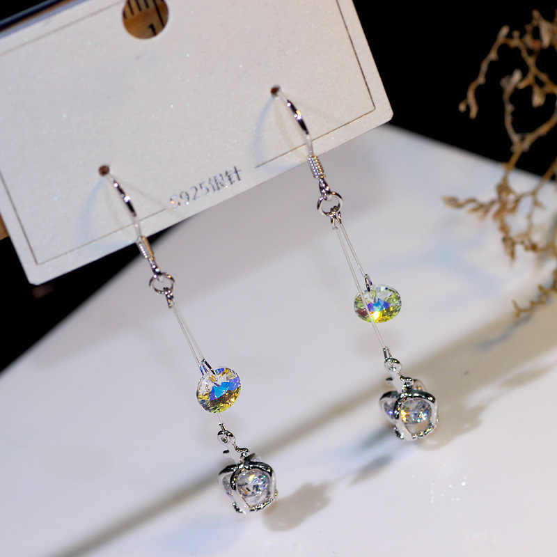 a0c3d2fff 2019 New SALE Earrings Female Crystal from Swarovski Delicate and sweet  crown 925 silver ear hook