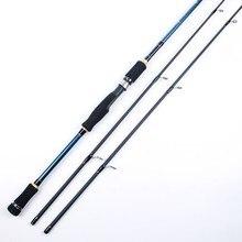 Vara de pesca de molinete/carretilha, 2 pontas, 100% carbono, resistente, 2 seções, isca para pesca