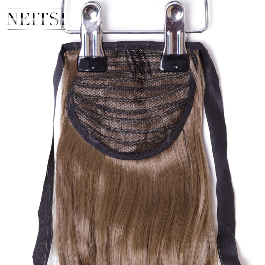 Купить с кэшбэком Neitsi Curly Long Clip In Hair Tail False Hair Ponytail Hairpiece With Hairpins Synthetic Hair 6#
