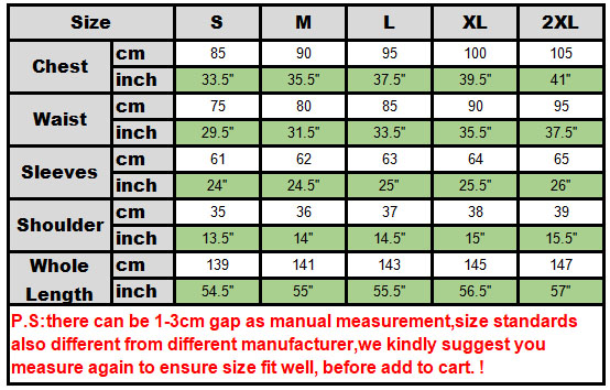 witch size chart