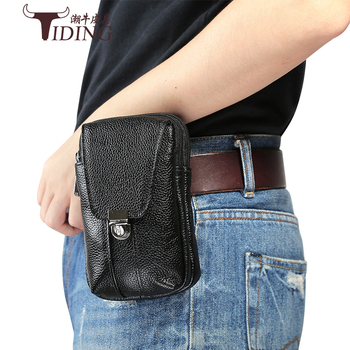 Man Black cow leather Brand Vintage Fashion Travel Waist  Bags 2018 New Men Small Mobile Genuine Casual Hanging
