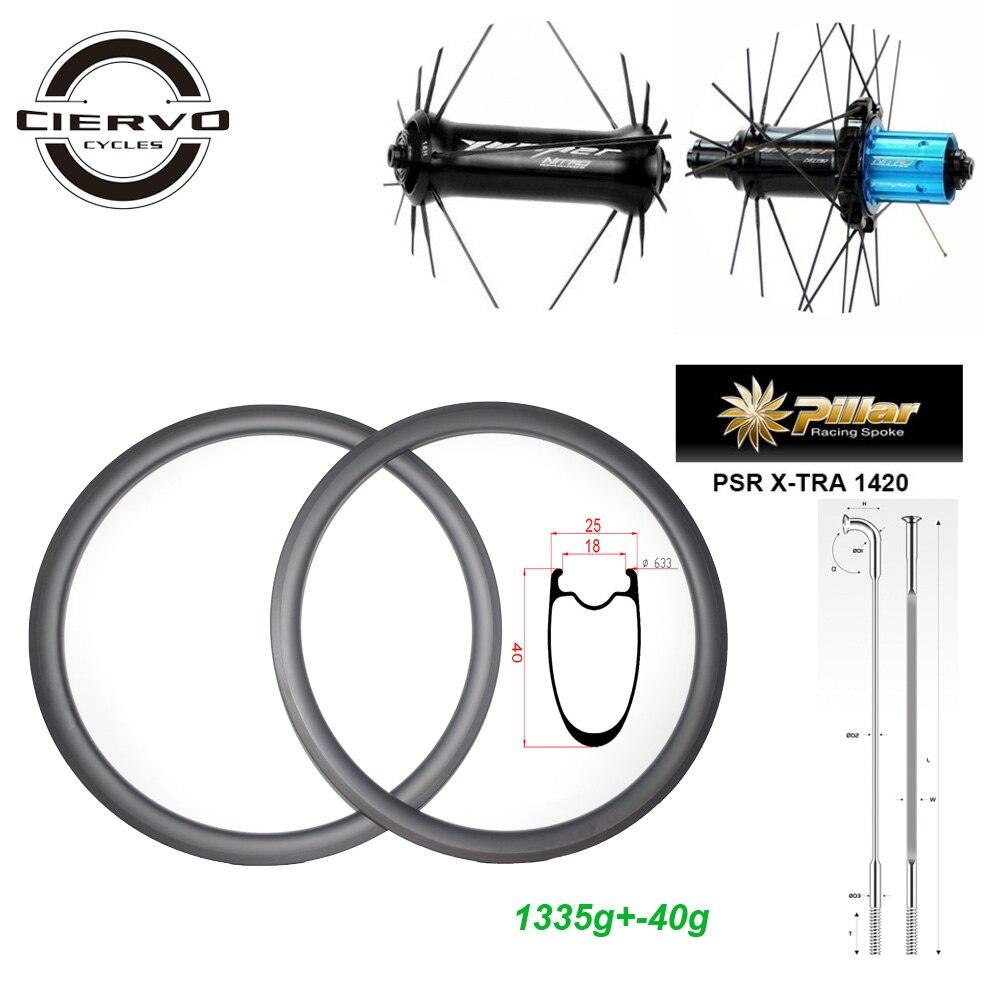 PRENIUM 1335g AERO 40-YP route 40mm x 25mm roues de vélo en carbone à traction droite paire de roues de vélo TUBELESS 20 24 trous UD 3 K 12 K TWILL