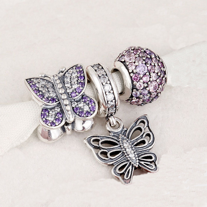 Fits Silver Charms Bracelet and Necklace 925 Sterling Silver sparkling Beads/Butterfly Charms Beads Women DIY Jewelry Fits Silver Charms Bracelet and Necklace 925 Sterling Silver sparkling Beads/Butterfly Charms Beads Women DIY Jewelry