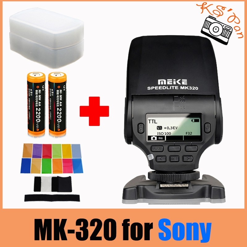 MEIKE MK-320 TTL flash Speedlite + 12pcs color filter + 2 x AA batteries for Sony A7 A7R A7S A7 II A77 II A6000 NEX-6 meike mk320 mk 320 gn32 ttl flash speedlite for fujifilm hot shoe x e2 x e1 x pro1 x pro2 x m1 x a3 x a2 x a1 xt1 x100t as ef 20