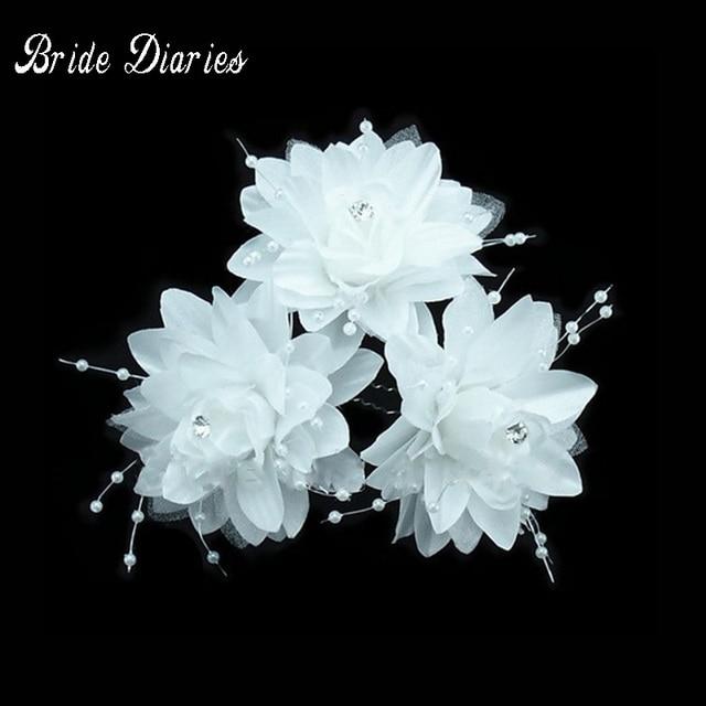10pcs \ много Новинка 2017 г. белый цветок шпильки свадебные аксессуары для волос; оптовая продажа; прелестный свадебные аксессуары для волос T38