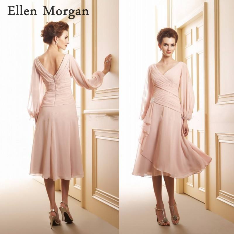 Long Sleeves Mother of the Bride Groom Dresses  2019 V Neck Knee Length Chiffon Pleated A line for Wedding Party Gowns-in Mother of the Bride Dresses from Weddings & Events