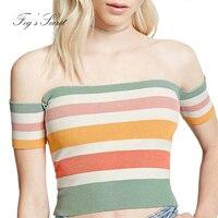 2017 Summer Sexy Tight T Shirt Women S Clothing Tops Short Colorful Rainbow Striped Slash Neck