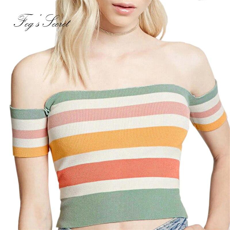 2019 Dámské Sexy Tight T Shirt Oblečení Krátké Pletené Vysoce elastické Rainbow Pruhované Slash Neck Casual Nice Tees Tops  t