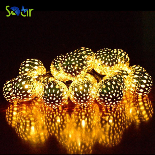 Novelty 20 led balls metal moroccan ornament led string lights for novelty 20 led balls metal moroccan ornament led string lights for garden garland wedding party outdoor workwithnaturefo