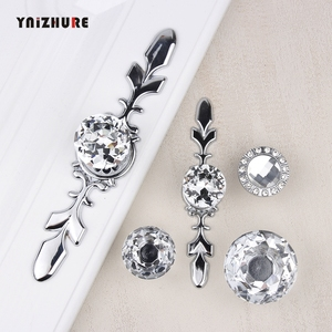 Hot Luxury Diamond Crystal Handles Shoebox Cabinet Handles Closet Door Drawer Knobs Wardrobe Pulls Pullers With Screws Hardware(China)