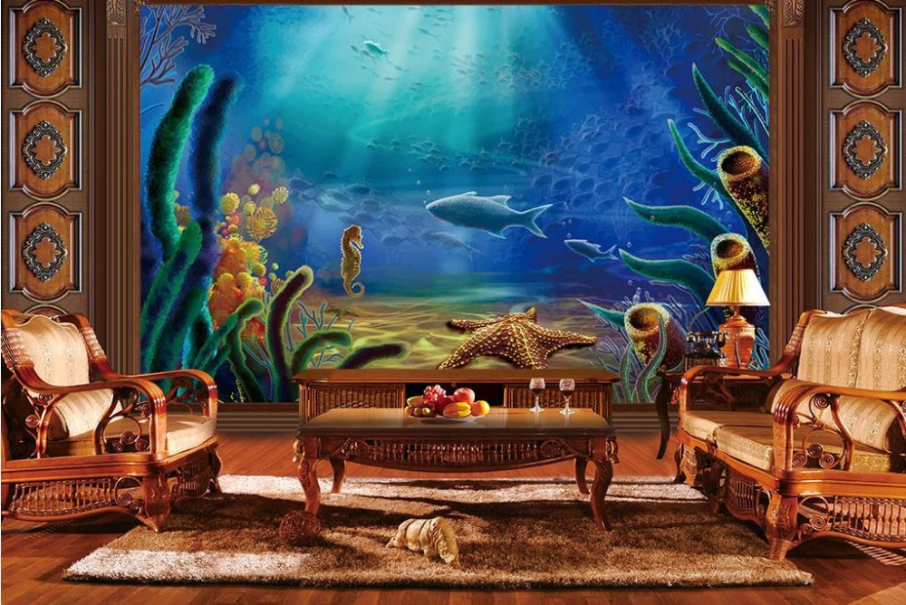 Customize 3d Photo Mural Wallpaper Underwater World 3D Aquatic Plants Stereoscopic Living Room Wall