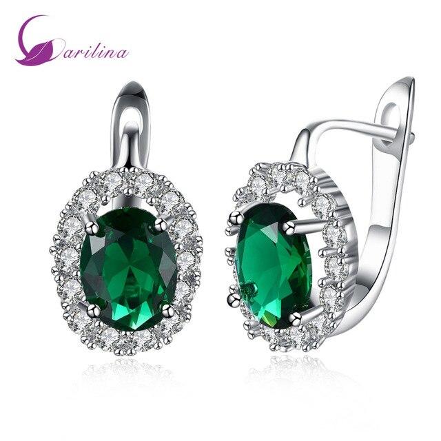 Stud earrings Fashion 2018 New Brand designer White CZ Green Cubic zirconia Silver earrings for women jewelry E2067
