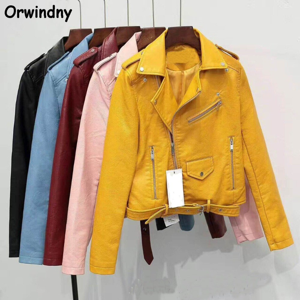 Orwindny Epaulet Motorcycle   Leather   Coats 2019 Slim Fashion Turn-down Collar Zipper Short   Leather   Jacket Short S-XL Clothing