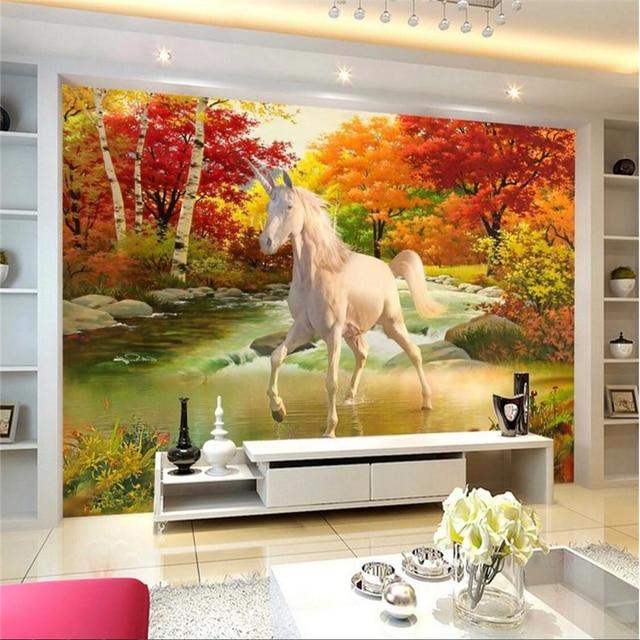 beibehang Wallpaper Mural Wall Sticker Unicorn Oil Painting ...