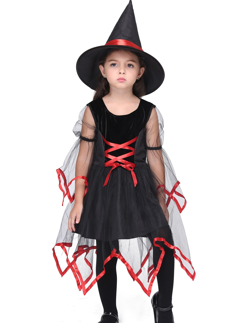 Witch Dress Costume Halloween Costume For Kids Stage & Dance Wear Toddler Mesh Short Skirt Party Cosplay
