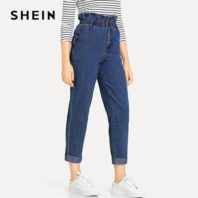 SHEIN Blue Rolled Hem Frill High Waist Jeans 3 Colors 2019 Women Spring Plain Pocket Zipper Elastic Waist Casual Pants Trousers 4