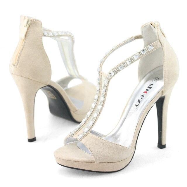 be0929c0492 SHOEZY wedding shoes beige zip high heels pumps suede open toe t bar ankle  strap platform sandals bridal bride ladies stilettos