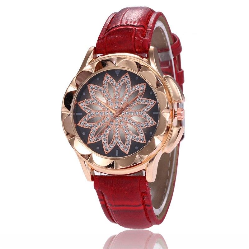 2018 Luxury Brand Quartz Watch for Women Fashion Rhinestone Flower Dial Women's Wrist Watches Leather Strap Gift Watch Wholesale