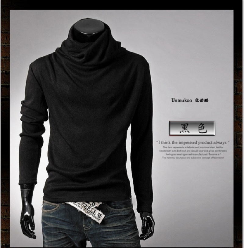 New Fashion Men Pullover Loose Solid Long Sleeve Sweatshirt Sportswear Men's Casual clothing Tops Heap Turtleneck