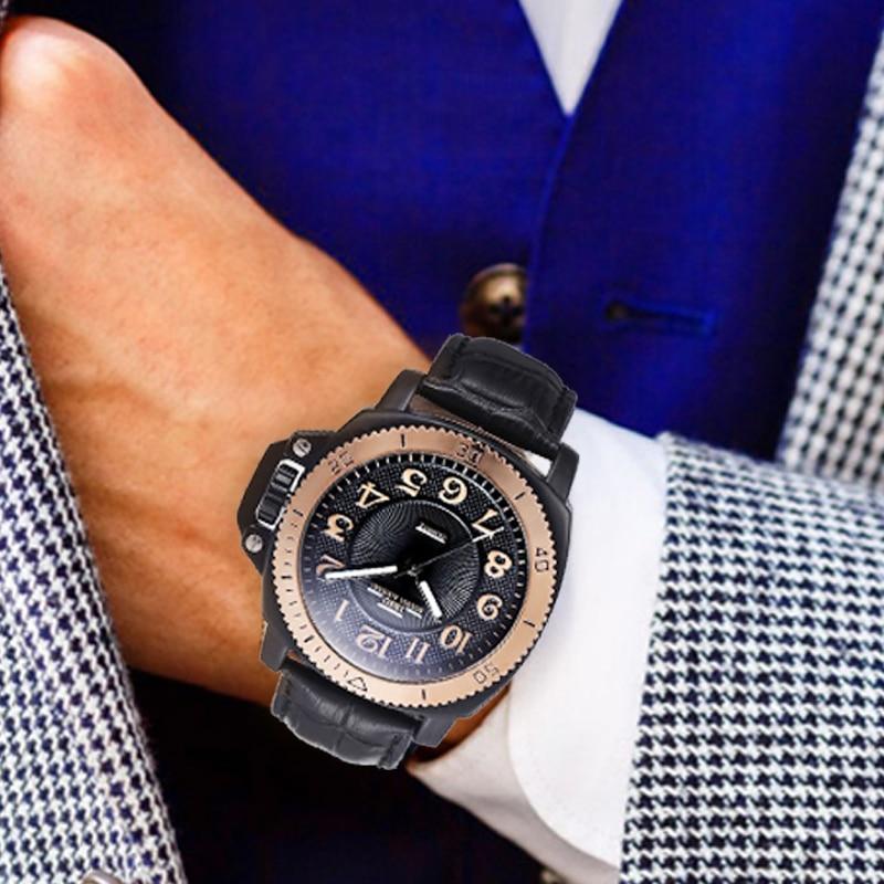 IBSO 브랜드 패션 스포츠 시계 남자 진짜 가죽 밴드 - 남성 시계 - 사진 6