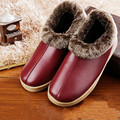 New Arrival Winter PU Leather Home Slippers Women Indoor\ Floor Slippers Warm Cotton Plush Non-slip Flat Shoes