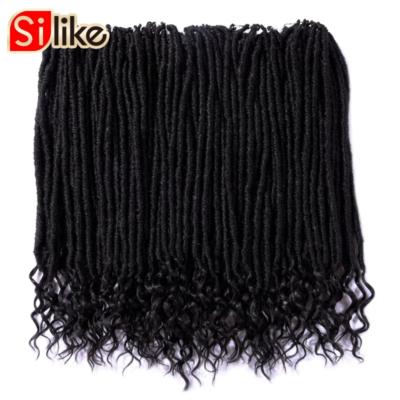 Silike Faux Locs curly Crochet Braids 14 18 Inch Soft Natural Synthetic Hair Extension 24 Stands/Pack Goddess Faux Locks Hair(China)