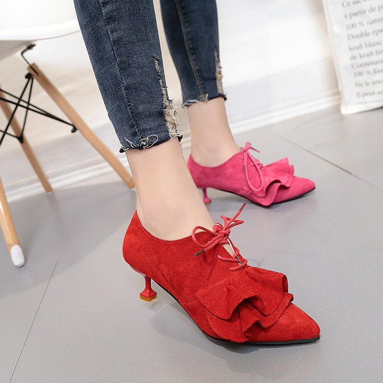 Heels Women High 2017 Lace Cute Shoes Fashion Thin Autumn Up hQrdtsC