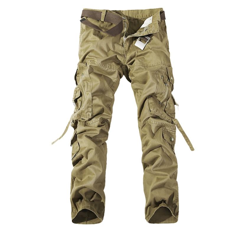 2018 Pantalones de carga de los hombres Casual Army Green Big Pockets Pantalones Militar general masculino al aire libre Pantalones largos de alta calidad 28-42 Plus