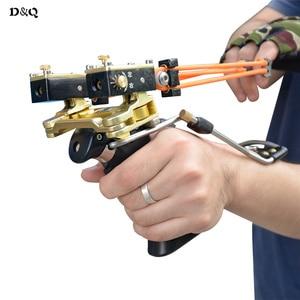 Image 5 - Leistungsstarke Slingshot Bogen Freienjagd katapult mit Geschwindigkeit Gummiband für Jagd Schieß Angeln Aluminiumlegierung Folding Wrist Sling Shot