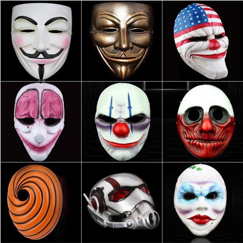 Di alta qualità Payday 2 Ant Batman V Vendetta Dio Smiley Face Resina Maschere di Halloween Cosplay Del Partito di Travestimento Del Partito di Festa forniture