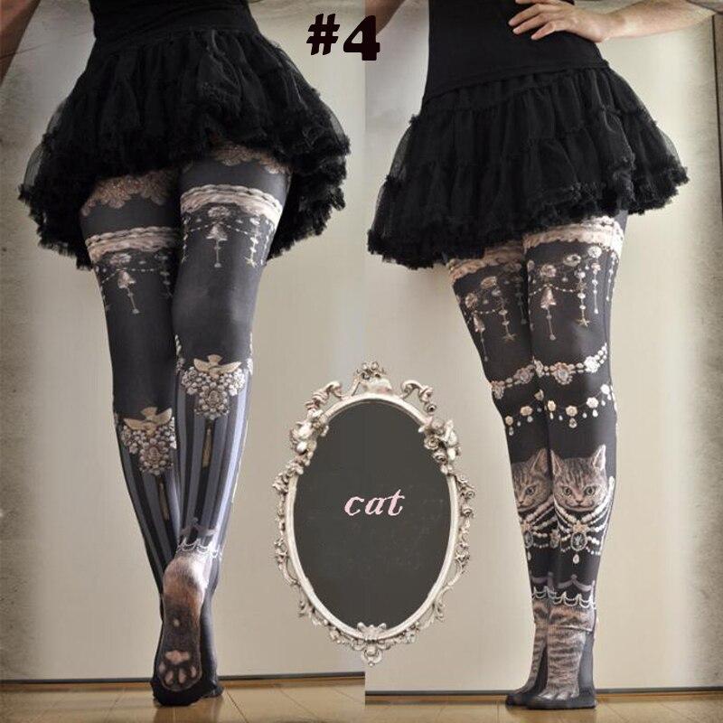 Новинка; колготки с принтом для женщин и девочек в японском стиле Харадзюку; уличная мода; стильные женские колготки с изображением милого кота и кролика - Цвет: 4