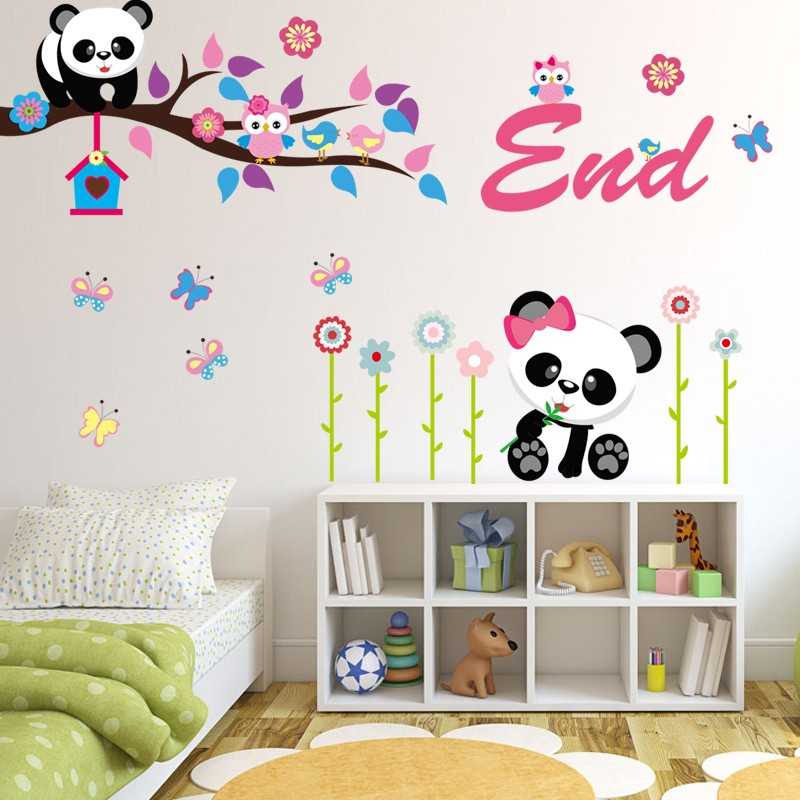 Panda de bamb de dibujos animados pegatinas de pared para - Pegatinas para dormitorios infantiles ...
