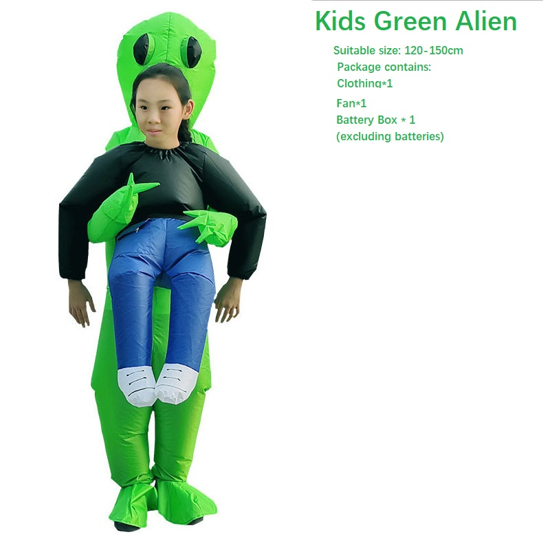 Halloween Inflatable Ride On  Costume  Green Alien  Adult Kids Fancy Dress For Party Carnaval Amazing Fantasy Cosplay