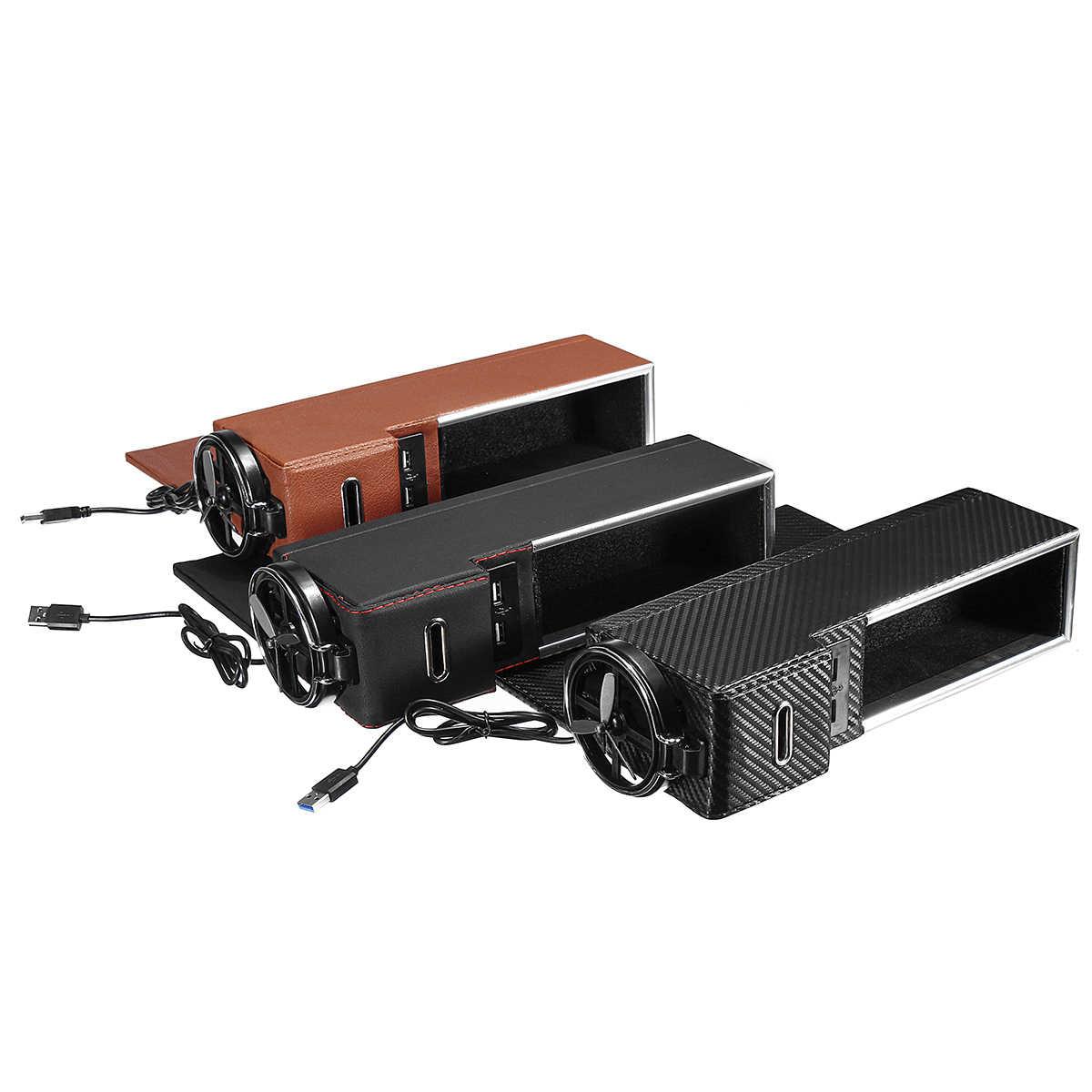 Siyah/Kahverengi/Karbon Yolcu yan Araba Koltuğu Gap saklama kutusu ile USB soket için cep düzenleyici Telefonu Anahtar içecek tutucu Evrensel