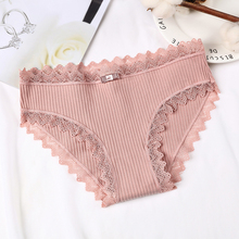 DEWVKV Lace Lady Underwear Mid-Rise Panties for Ladies Women Panties Breathable Solid Sexy Cotton Size M Lingerie New Arrival ZC dewvkv sexy lace cotton ladies underwear panties for women low rise breathable briefsfancy ultra thin golden ruffled solid jk