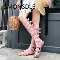 2018 New Summer Rome Gladiator Sandals Women Pink Open Toe Back Zipper Cow Suede Flat with Knee High Summer Boots Shoes Woman