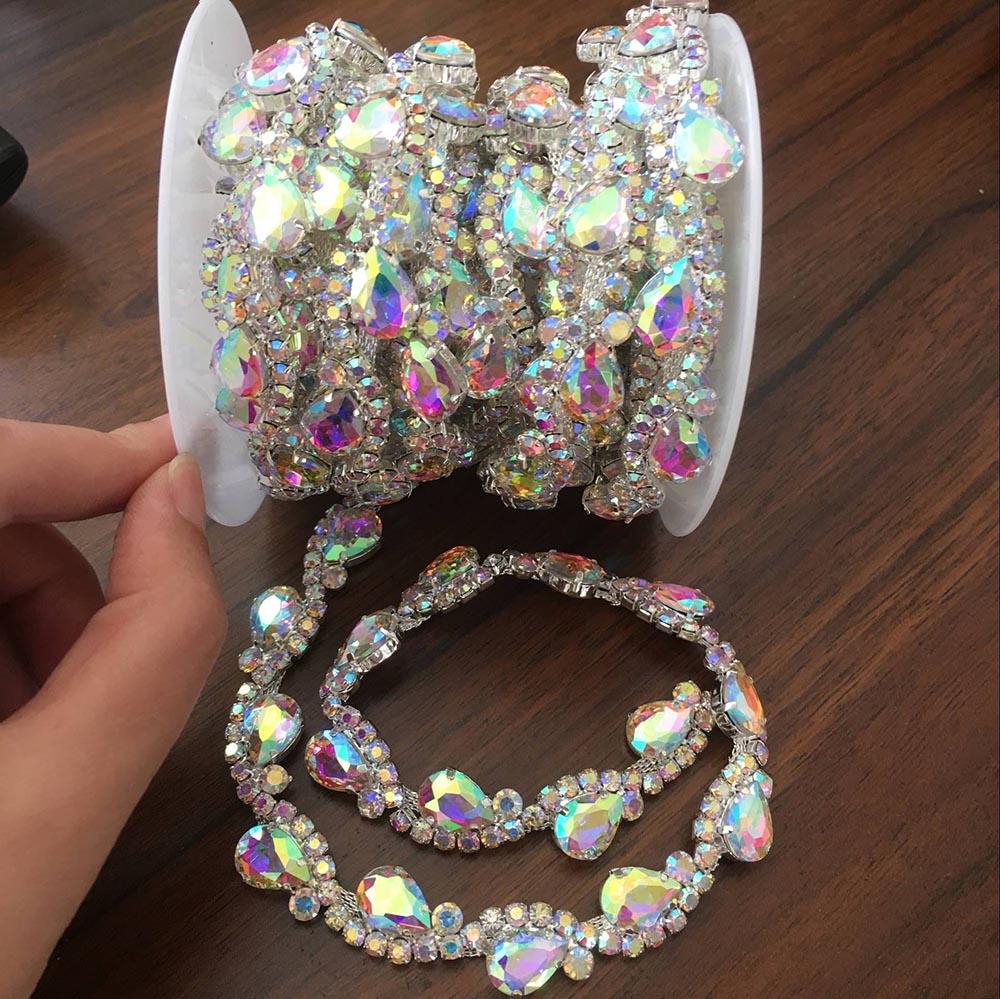 Detail Feedback Questions about Good quality Crystal AB waterdrop S Shape  Rhinestone Cup Chain Shine Colorful Rhinestone Trim DIY Wedding Dress Cloth  ... 924efe0cfd7e