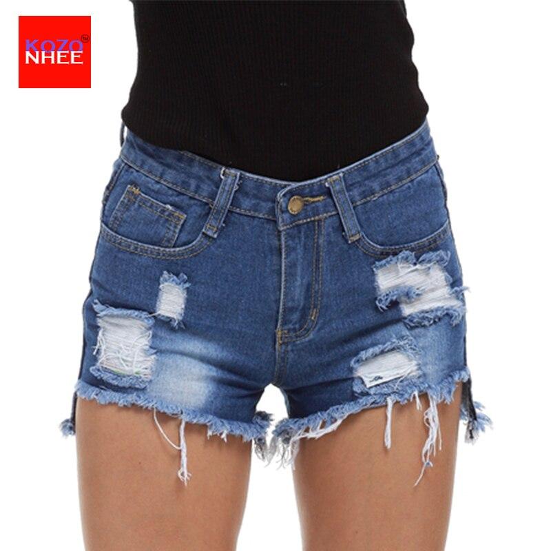 2017 Summer High Waist women shor Vintage ripped hole Frayed Tassel loose denim shorts p ...